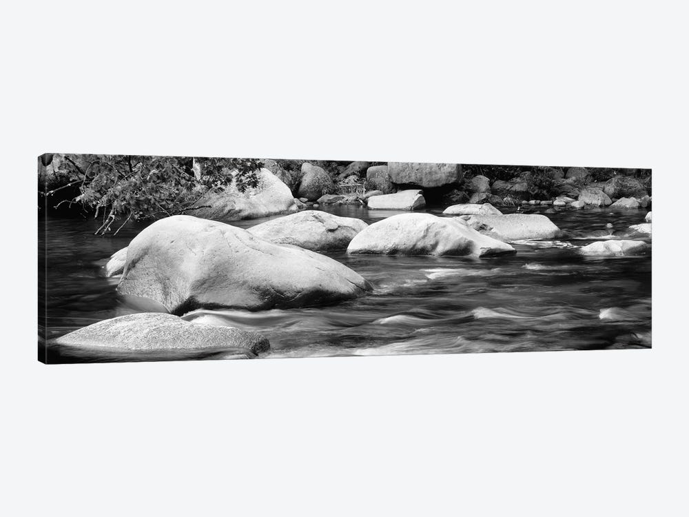 River Rocks In B&W, Swift River, White Mountain National Forest, New Hampshire, USA 1-piece Canvas Art Print