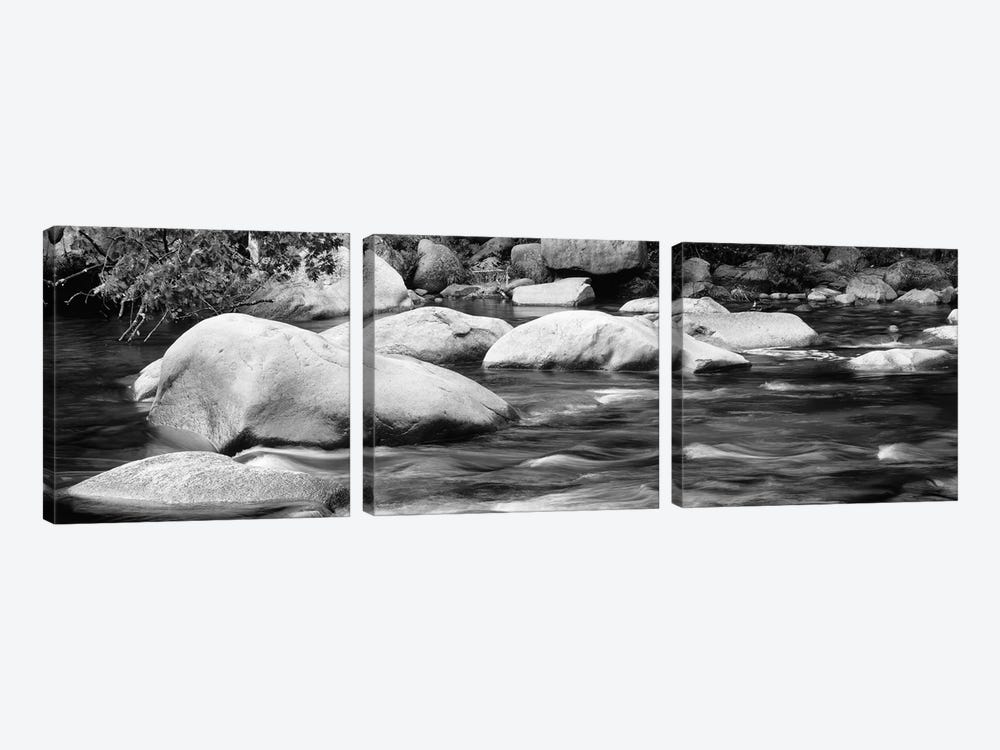 River Rocks In B&W, Swift River, White Mountain National Forest, New Hampshire, USA by Panoramic Images 3-piece Canvas Art Print