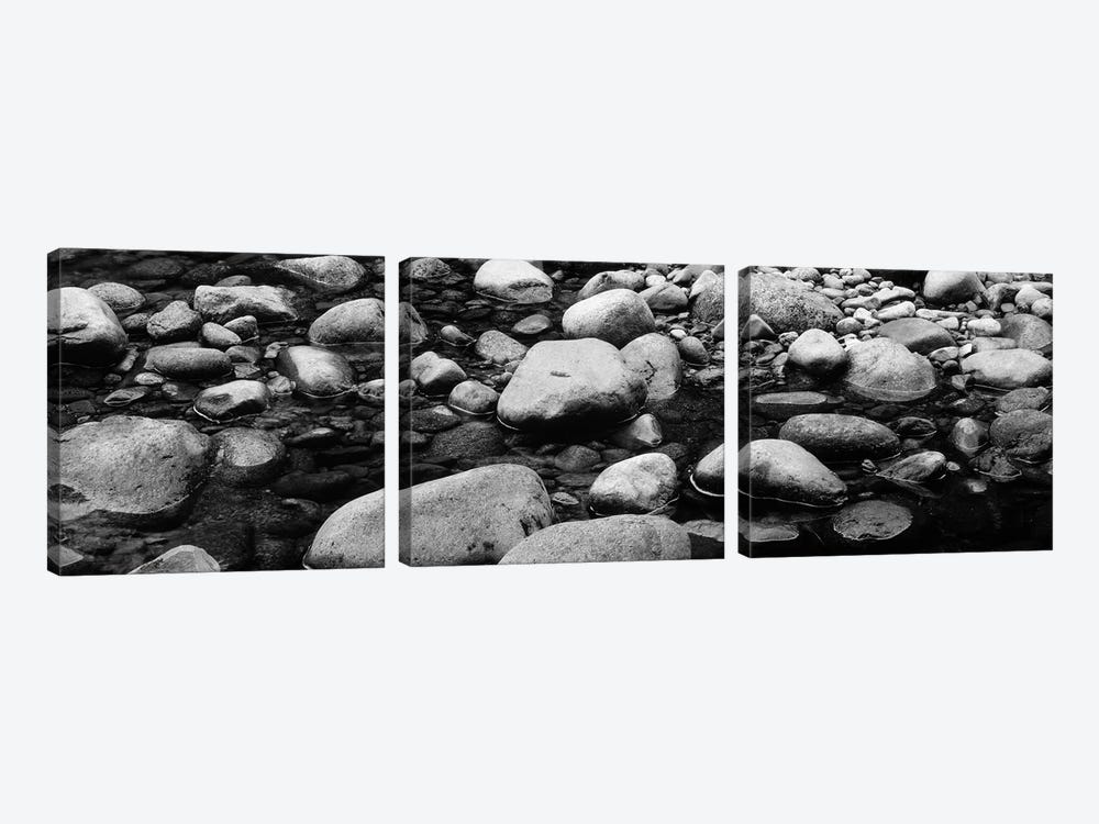 River Stones In B&W, Swift River, White Mountain National Forest, New Hampshire, USA by Panoramic Images 3-piece Canvas Wall Art