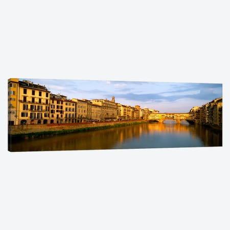Riverfront Architecture & Ponte Vecchio, Arno River, Florence, Tuscany, Italy Canvas Print #PIM1101} by Panoramic Images Canvas Wall Art