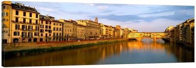 Riverfront Architecture & Ponte Vecchio, Arno River, Florence, Tuscany, Italy Canvas Print #PIM1101