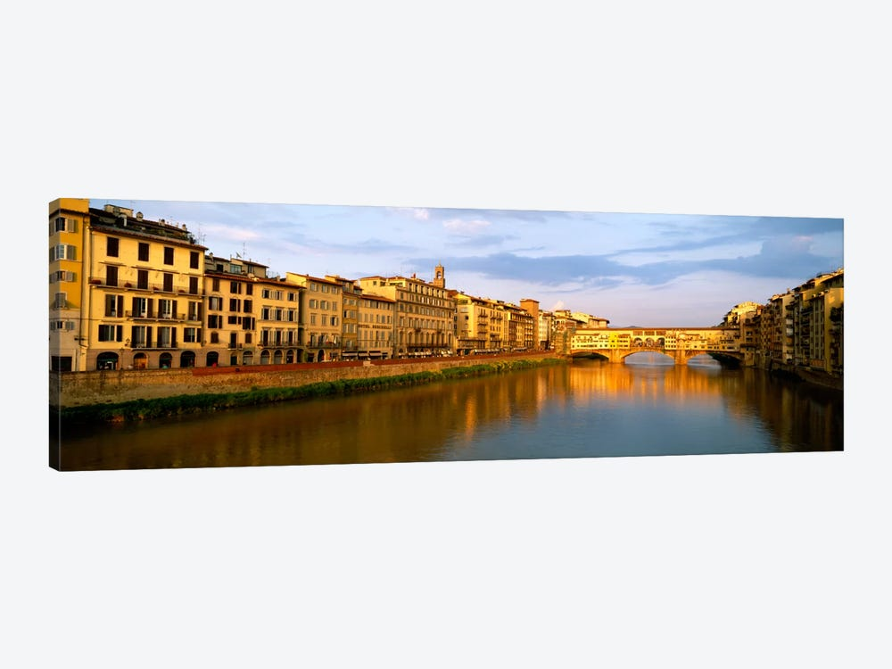 Riverfront Architecture & Ponte Vecchio, Arno River, Florence, Tuscany, Italy by Panoramic Images 1-piece Canvas Artwork
