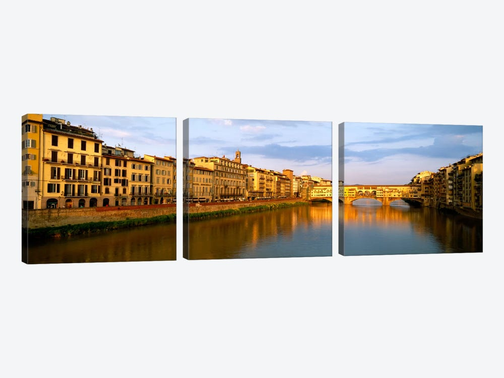 Riverfront Architecture & Ponte Vecchio, Arno River, Florence, Tuscany, Italy by Panoramic Images 3-piece Canvas Artwork