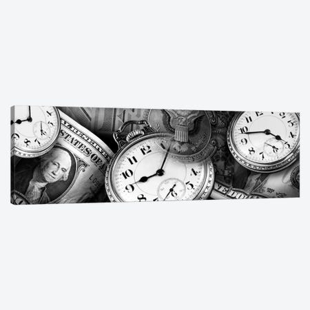 Clocks And Dollar Bills In B&W Canvas Print #PIM11036} by Panoramic Images Canvas Art Print