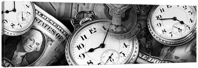 Clocks And Dollar Bills In B&W Canvas Art Print