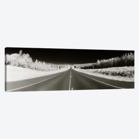 Long Road Ahead (Negative), Alaska Highway, Alaska, USA Canvas Print #PIM11039} by Panoramic Images Canvas Artwork