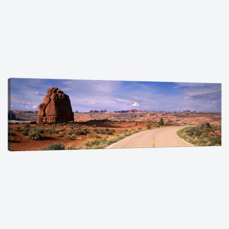Road Courthouse Towers Arches National Park Moab UT USA Canvas Print #PIM1103} by Panoramic Images Canvas Wall Art