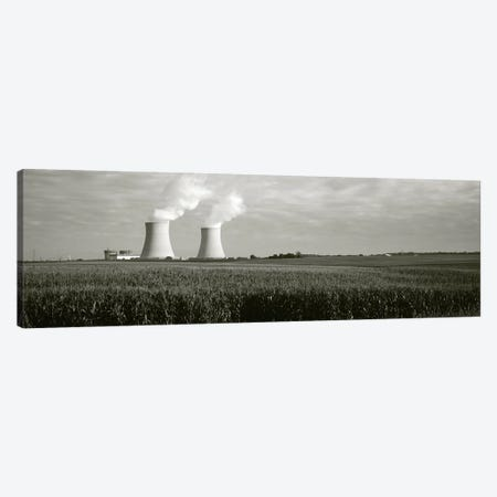 Smoke emitting from two smoke stacks, Byron Nuclear Power Station, Ogle County, Illinois, USA Canvas Print #PIM11051} by Panoramic Images Canvas Artwork