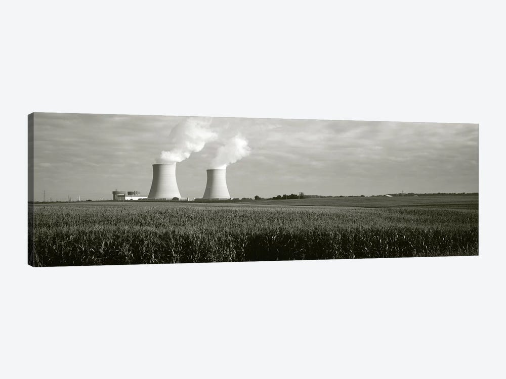 Smoke emitting from two smoke stacks, Byron Nuclear Power Station, Ogle County, Illinois, USA by Panoramic Images 1-piece Canvas Wall Art