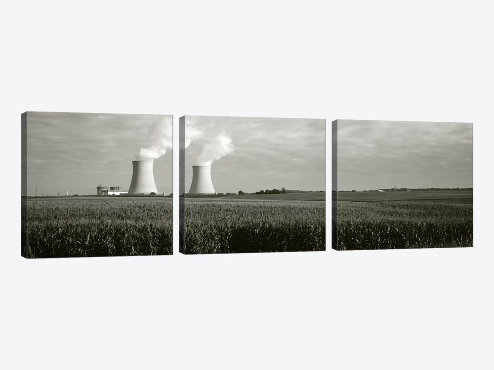 Smoke emitting from two smoke stacks, Byron Nuclear Power Station, Ogle County, Illinois, USA by Panoramic Images 3-piece Canvas Wall Art