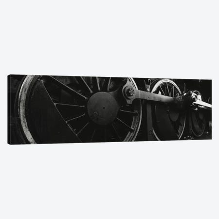 Steam Locomotive Driving Wheels In B&W Canvas Print #PIM11059} by Panoramic Images Canvas Wall Art