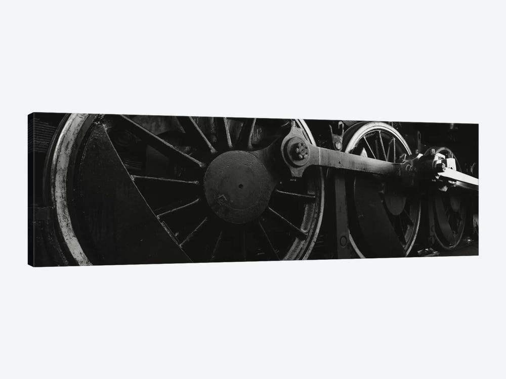 Steam Locomotive Driving Wheels In B&W by Panoramic Images 1-piece Canvas Wall Art