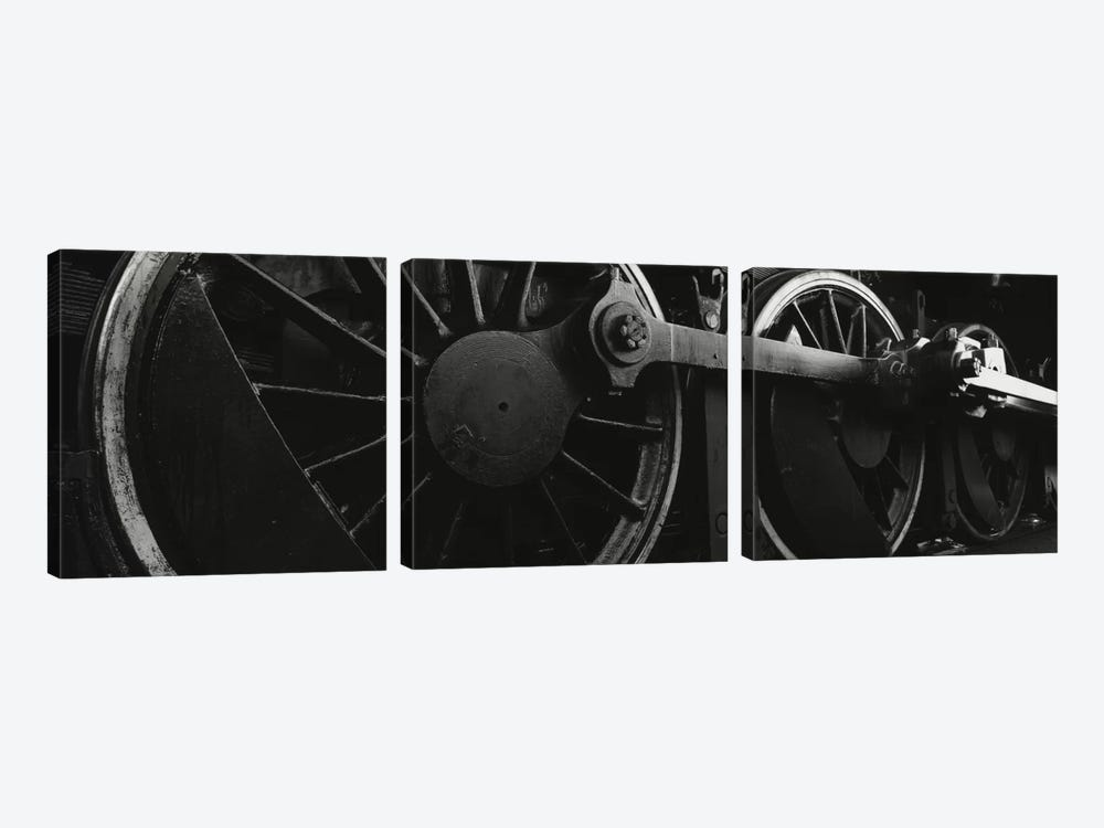 Steam Locomotive Driving Wheels In B&W by Panoramic Images 3-piece Canvas Wall Art