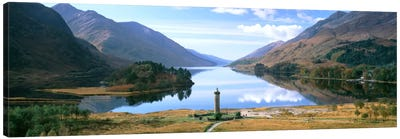 Picturesque Landscape Featuring Glenfinnan Monument & Loch Shiel, Glenfinnan, Highlands, Scotland, United Kingdom Canvas Art Print