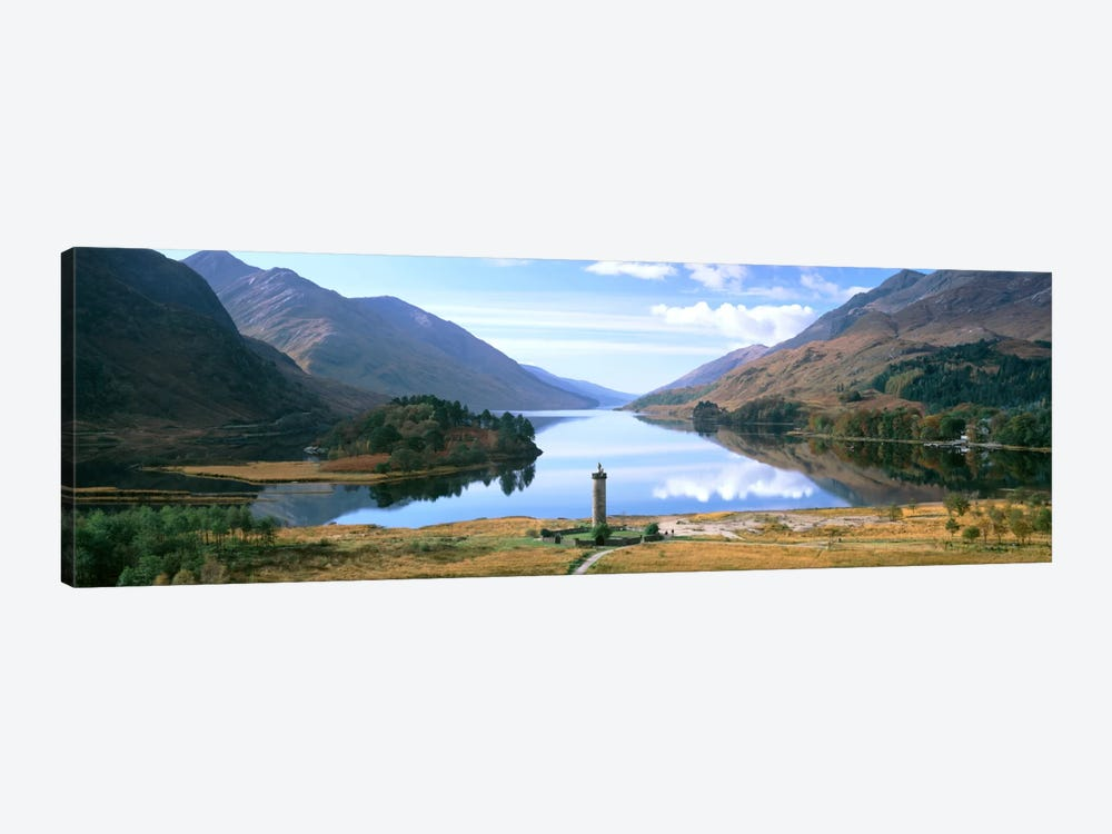 Picturesque Landscape Featuring Glenfinnan Monument & Loch Shiel, Glenfinnan, Highlands, Scotland, United Kingdom by Panoramic Images 1-piece Canvas Artwork