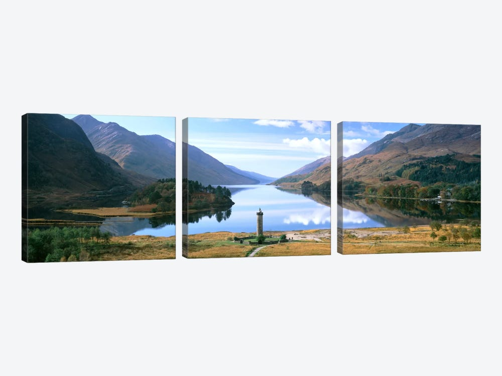 Picturesque Landscape Featuring Glenfinnan Monument & Loch Shiel, Glenfinnan, Highlands, Scotland, United Kingdom by Panoramic Images 3-piece Canvas Art