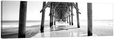 Underbelly Of A Pier In B&W, North Carolina, USA Canvas Print #PIM11092