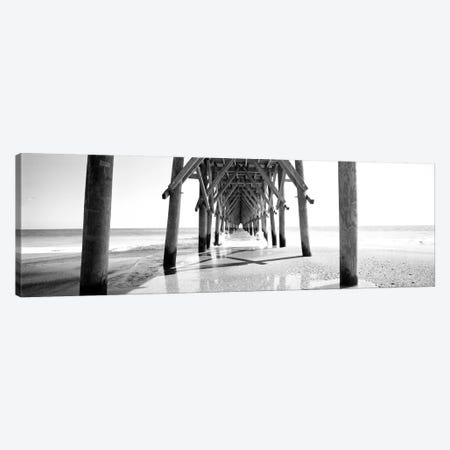 Underbelly Of A Pier In B&W, North Carolina, USA 3-Piece Canvas #PIM11092} by Panoramic Images Canvas Artwork