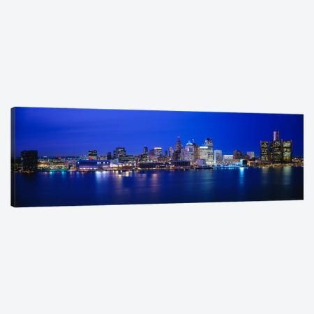 USA, Michigan, Detroit, night Canvas Print #PIM110} by Panoramic Images Canvas Artwork