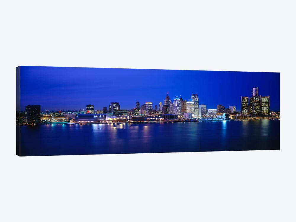 USA, Michigan, Detroit, night by Panoramic Images 1-piece Canvas Wall Art