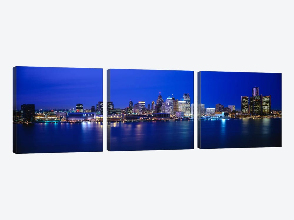 USA, Michigan, Detroit, night 3-piece Canvas Wall Art