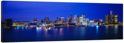 USA, Michigan, Detroit, Night Canvas Art Print