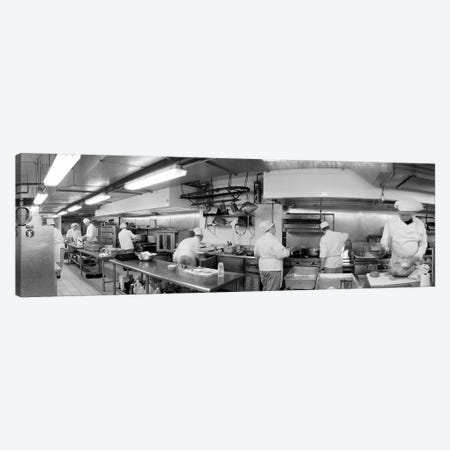Black And White, Chefs In Kitchen Canvas Print #PIM11102} by Panoramic Images Canvas Art