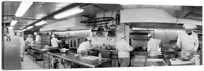 Black And White, Chefs In Kitchen Canvas Art Print