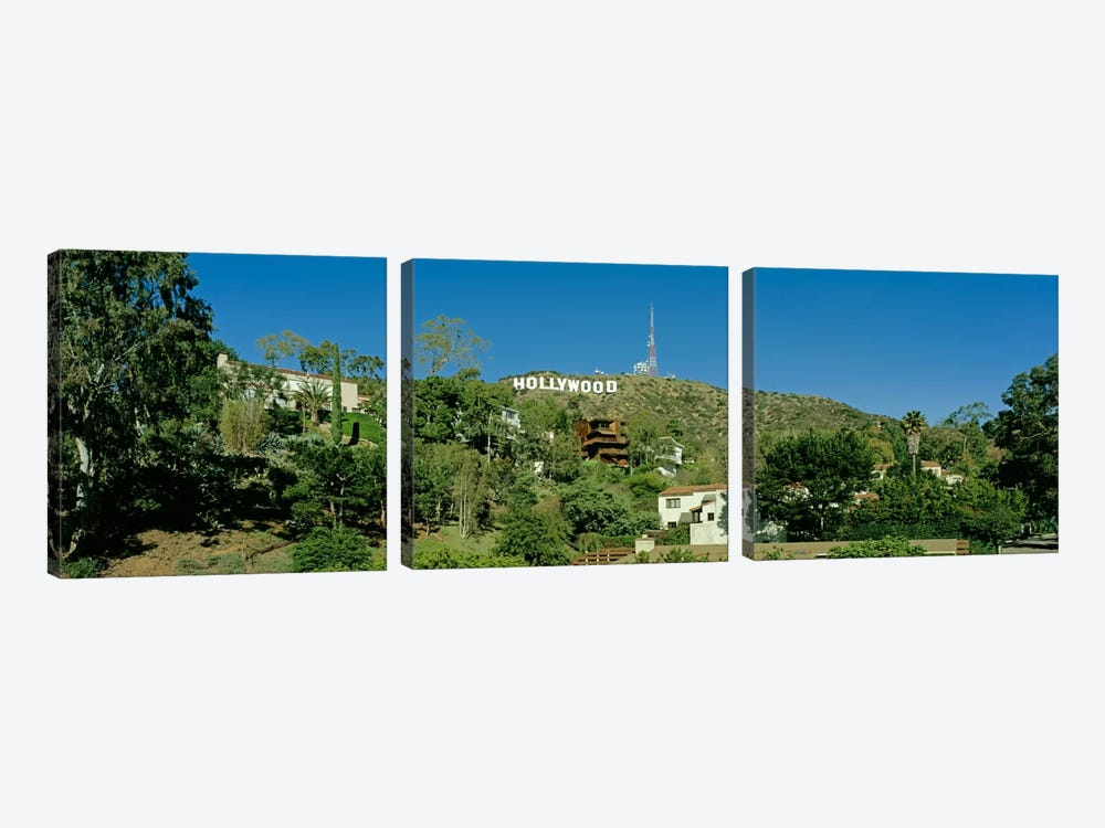 USA, California, Los Angeles, Hollywood Sign at Hollywood Hills by Panoramic Images 3-piece Canvas Wall Art