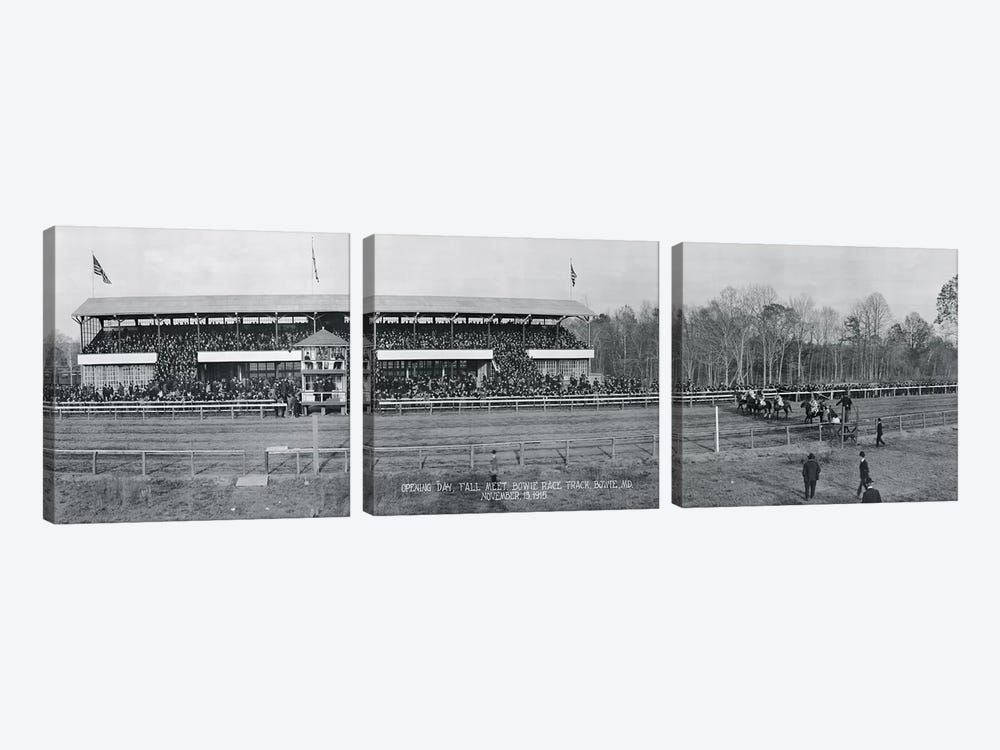 Bowie Race Track Bowie MD Opening Day Fall Meet November 13 1915 by Panoramic Images 3-piece Canvas Artwork