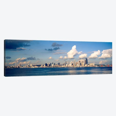 Buildings at the waterfront, Elliott Bay, Seattle, King County, Washington State, USA, 1996 Canvas Print #PIM1112} by Panoramic Images Canvas Art Print