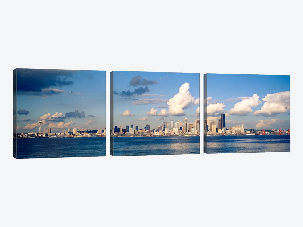 Buildings at the waterfront, Elliott Bay, Seattle, King County, Washington State, USA, 1996 by Panoramic Images 3-piece Canvas Wall Art
