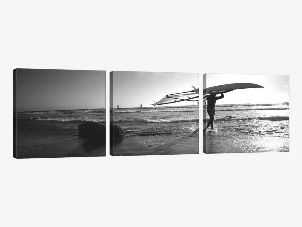 Man carrying a surfboard over his head on the beach, Santa Cruz, California, USA by Panoramic Images 3-piece Canvas Artwork