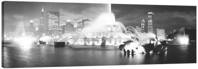 Evening In B&W, Buckingham Fountain, Chicago, Illinois, USA Canvas Print #PIM11135
