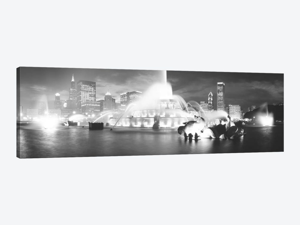 Evening In B&W, Buckingham Fountain, Chicago, Illinois, USA 1-piece Canvas Art Print