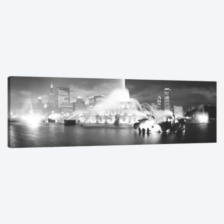 Evening In B&W, Buckingham Fountain, Chicago, Illinois, USA Canvas Print #PIM11135} by Panoramic Images Canvas Wall Art