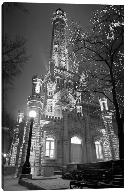 An Illuminated Chicago Water Tower In B&W, Chicago, Illinois, USA Canvas Art Print