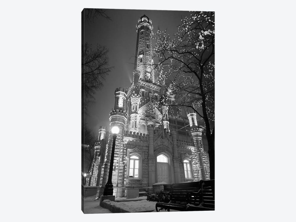 An Illuminated Chicago Water Tower In B&W, Chicago, Illinois, USA by Panoramic Images 1-piece Art Print