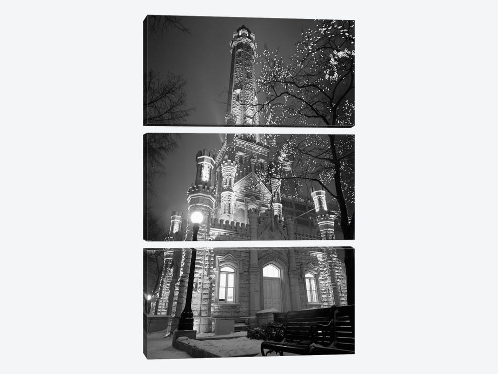 An Illuminated Chicago Water Tower In B&W, Chicago, Illinois, USA by Panoramic Images 3-piece Canvas Print