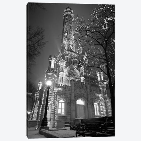 An Illuminated Chicago Water Tower In B&W, Chicago, Illinois, USA Canvas Print #PIM11142} by Panoramic Images Canvas Wall Art