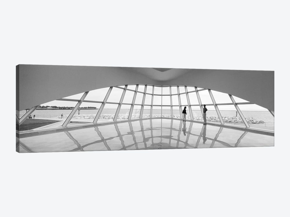 Silhouette of two people in a museum, Milwaukee Art Museum, Milwaukee, Wisconsin, USA by Panoramic Images 1-piece Canvas Art