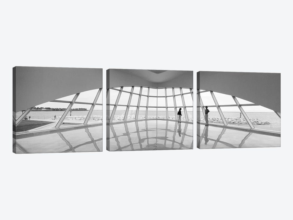 Silhouette of two people in a museum, Milwaukee Art Museum, Milwaukee, Wisconsin, USA by Panoramic Images 3-piece Canvas Art