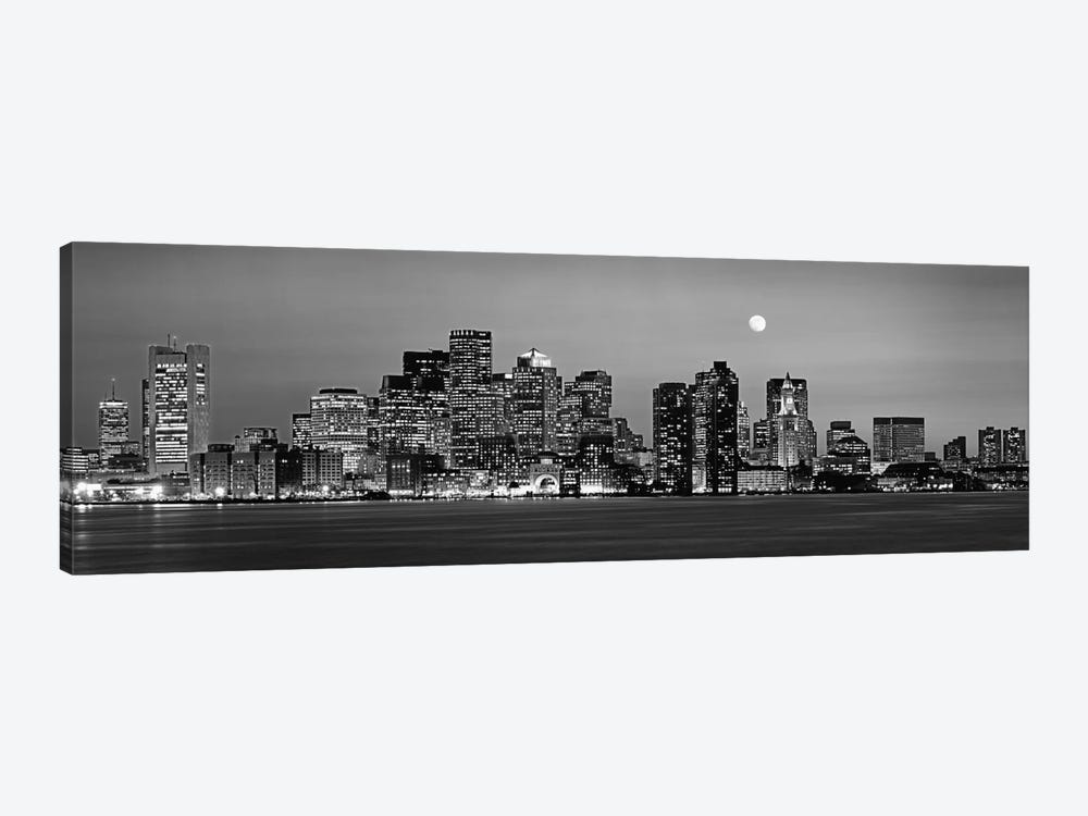 Downtown Skyline In B&W, Boston, Massachusetts, USA 1-piece Canvas Wall Art