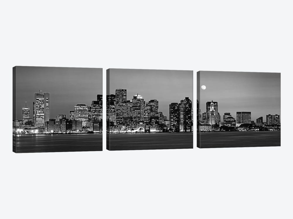 Downtown Skyline In B&W, Boston, Massachusetts, USA 3-piece Canvas Wall Art
