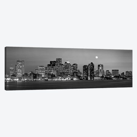 Downtown Skyline In B&W, Boston, Massachusetts, USA 3-Piece Canvas #PIM11165} by Panoramic Images Canvas Print