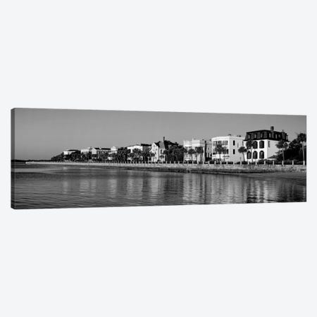 Antebellum Architecture Along The Waterfront In B&W, The Battery, Charleston, South Carolina, USA Canvas Print #PIM11166} by Panoramic Images Canvas Print