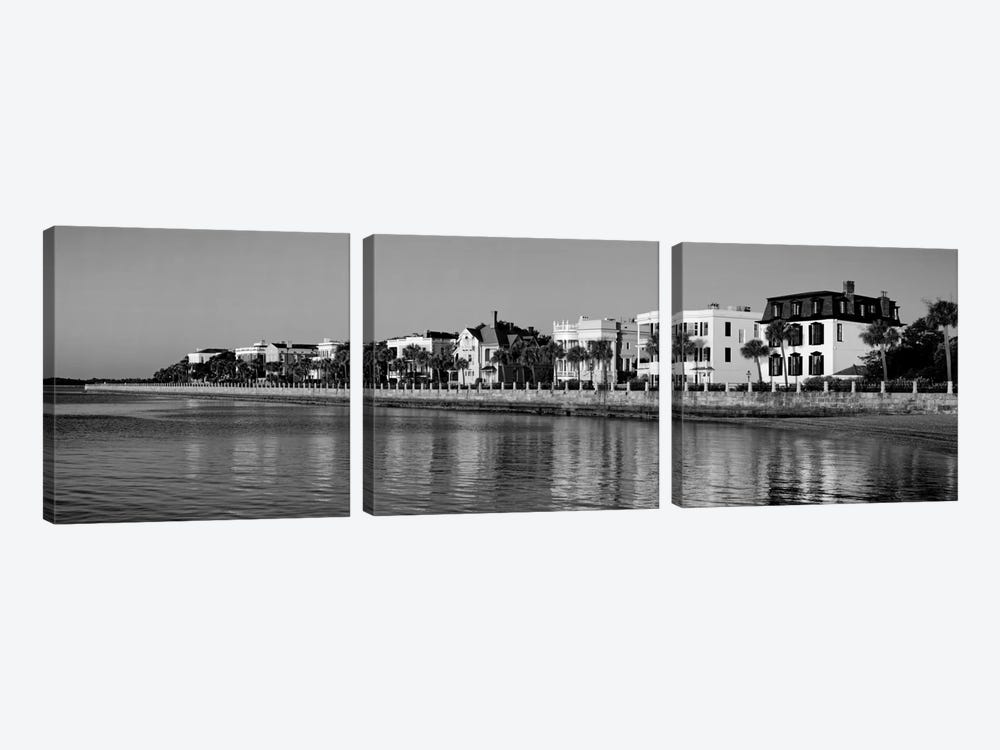 Antebellum Architecture Along The Waterfront In B&W, The Battery, Charleston, South Carolina, USA by Panoramic Images 3-piece Art Print