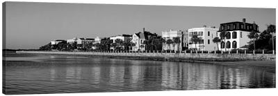 Antebellum Architecture Along The Waterfront In B&W, The Battery, Charleston, South Carolina, USA Canvas Art Print