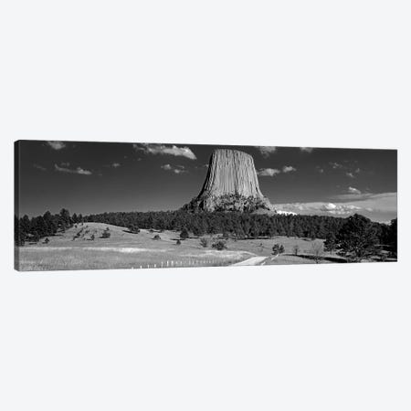 USA, Wyoming, Devils Tower National Monument, Low angle view of a natural rock formation (Black And White) Canvas Print #PIM11167} by Panoramic Images Canvas Art Print