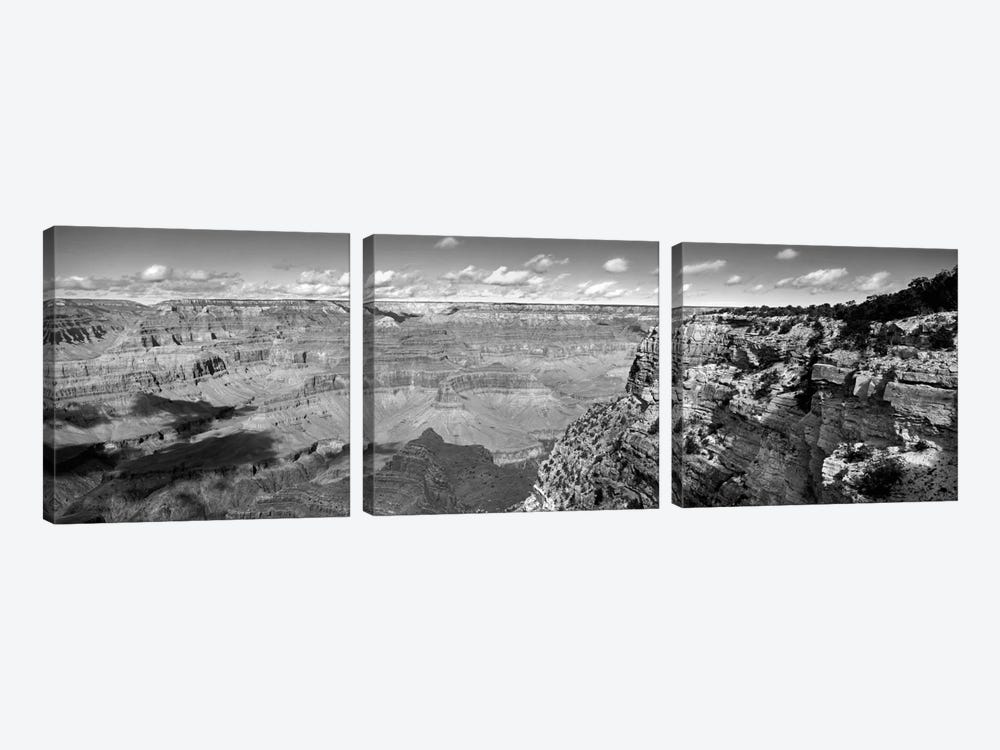 River Valley Landscape In B&W, Grand Canyon National Park, Arizona, USA by Panoramic Images 3-piece Canvas Art